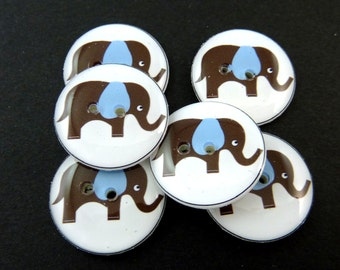 """6 Elephant Buttons. Brown Elephant with Blue Ears. Sewing Buttons.   3/4"""" or 20 mm.  Novelty Buttons Handmade By Me. Washer and dryer Safe."""