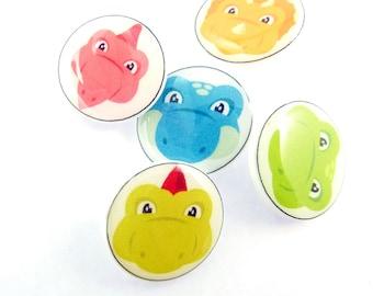 """5 Dinosaur Buttons. Handmade SHANK Sewing Buttons. 3/4"""" or 20 mm. Children's Buttons.  Novelty Buttons."""