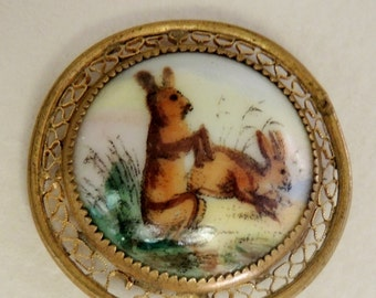 Victorian Era Rabbit Brooch