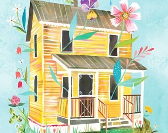 Sunny Yellow Farmhouse Art Print | Country Wall Art | House Painting | Katie Daisy Artwork | 8x10 | 11x14
