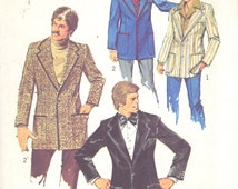 Simplicity 6128 1970s Mens  Casual and Formal Blazer Jacket Pattern Adult Vintage  Sewing Pattern Chest 38 and 40 UNCUT