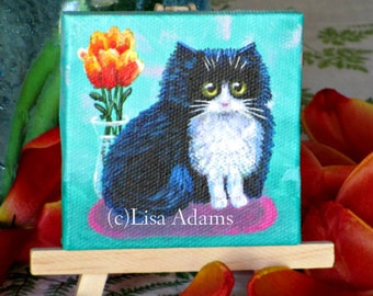 Tuxedo Cat 3x3 Painting Canvas with or without Easel Original Art Creationarts Lisa Adams