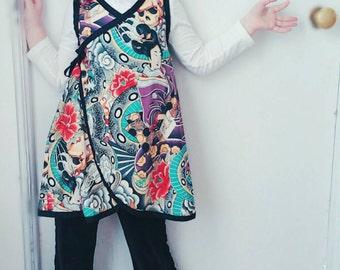 Geisha Kimono - Purple Baby Dress - Punk Rock Dress - Kimono Dress - Asian Baby Clothes - Girl Dress - Size nb - 6m - 12m - 18m