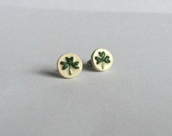 Handmade Ceramic Shamrock Stud Earrings