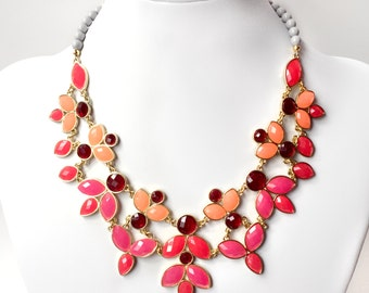 Fuchsia Pink and Coral Statement Necklace - Leafy Bib Necklace in Gold - Unique Leaves Necklace - Red, Peach, Hot Pink and Gray