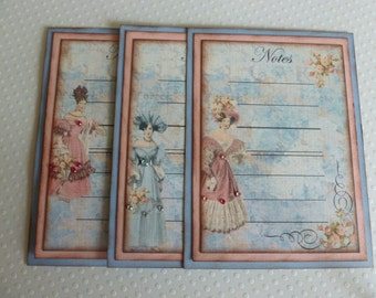 Jane Austen journaling tags or cards, Regency fashion, blue and pink, vintage style, shabby chic, pink roses - set of 6