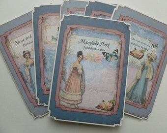 Jane Austen note cards, stationery, Regency fashion, Mansfield Park, Pride and Prejudice, Emma, Sense and Sensibility, Persuasion - set of 6