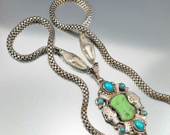 Snake Necklace, Art Deco Necklace, Silver Snake Czech Necklace Max Neiger Green Turquoise Czech Glass Long Necklace Vintage Art Deco Jewelry