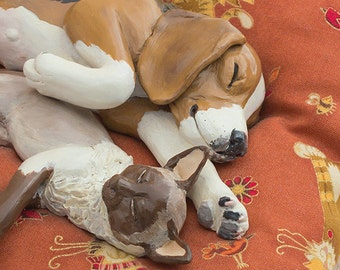 Beagle Dog & Siamese Cat Sculpture, Polymer Clay Animals, Pet Portraits, Dog and Cat Art, Animal Lover Gifts