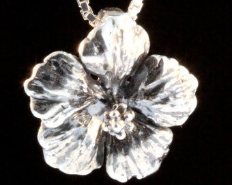 Flower Necklace Silver Hibiscus Necklace Hibiscus Charm Hibiscus Pendant Flower Charm Flower Pendant Flower Jewelry Tropical Flower
