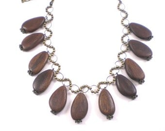 Wood Necklace Bib Dark Brown Brass Vintage Boho Chic Jewelry