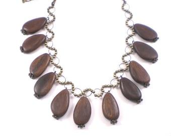 Wood Necklace Bib Dark Brown Brass Vintage Boho Chic Jewelry
