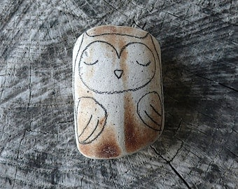 Large Beach Pottery Owl - Totem, Animal Medicine, Spirit Animal