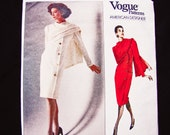 1980s Vogue Designer Pattern Bill Blass Size 8 10 12 UNCUT Semi Fitted Straight Dress, Attached over shoulder Drape Vogue Pattern