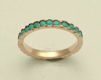 Solid rose gold turquoises ring, gold Stacking ring, Wedding ring, gold ring, Vintage Turquoise band, eternity ring - Eternity ring RG0911