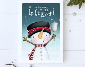 "greeting card - christmas -holiday - snowman - snowmen -  snow -snowy night - star  - ""Christmas bells are ringing!- No.1"""