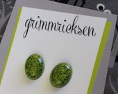 Small Bright Green Oval Earrings