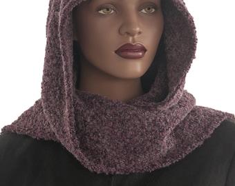 Grape Grey Boucle Wool Hood Wrap Scarf Head Hoodie Wrap Handmade