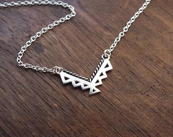 Tiny Aztec necklace - ornate sterling silver geometric tribal necklace - dainty necklace - geometric necklace - tiny necklace - chevron