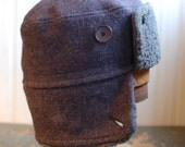 Furry Russian S: russian earflap hat in purple tweed, bomber hat with cozy ear flaps, winter hat for men women or children, warm ushanka