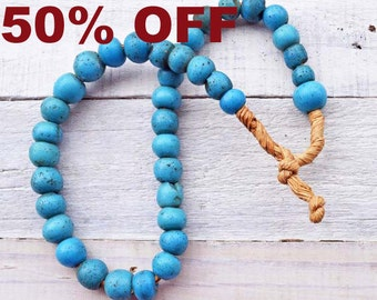 Trade Bead Necklace Rare Dogon Dutch Light Blue African Beads Intact Strand