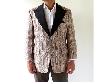 Vintage Men's Tuxedo / Gold Tuxedo Jacket / Brocade 70s Jacket / Size 40 S