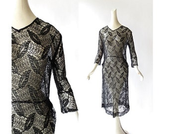 Vintage 1920s Dress | Raven's Wing | Black Lace Dress | 20s Dress | XS