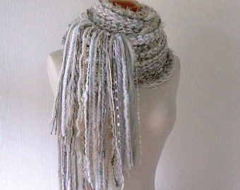 earl grey. knitted scarf . warm winter rustic scarf . extra long chunky handknit neutral scarf . white vanilla cream beige taupe camel gray