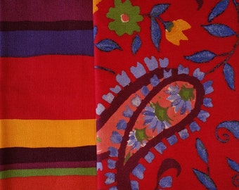 RD015 ~ 2 fabric samplers Colorful fabrics Rainbow stripes Red floral
