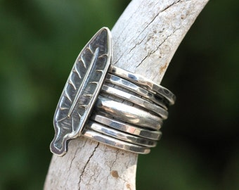 Sterling Silver Feather Ring Sterling Silver Ring Sterling Silver Feather Stacking Ring Boho Ring Bohemian Ring Nature Ring Nature Jewelry