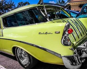 1956 Chevrolet Bel Air Nomad Station Wagon Car Photography, Automotive, Auto Dealer, Mechanic, Boys Room, Garage, Dealership Art
