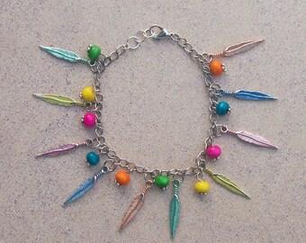 FESTIVAL Boho Feather Charm Bracelet - Hippie Jewelry