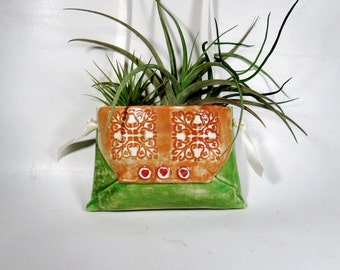 Hanging Ceramic Planter Vase for Air Plant or Succulent Purse Ornament Pocket Pouch Decor for Home or Office