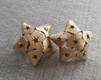 Vintage Stylized Star Earrings with Tiny Green Rhinestones