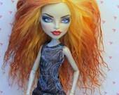 Monster Doll High Fashion Wig Mohair Tibetan Lamb Fur ooak Custom Golden Copper & Peach Gradient