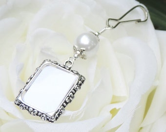 Wedding bouquet photo charm w/ white or purple pearl. Wedding memorial photo charm handmade gift for the bride. Bridal shower gift.
