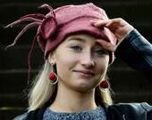 Unique handmade felt hats merino wool slouchy beanie old pink hat unique slouch cap Nunofelt hat wool felt hat french beanie Valentine gift