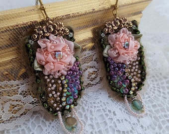 Blush Pink earrings, Boho statement earrings, bead embroidered textile jewelry, Marie Antoinette inspired long lightweight flower earrings