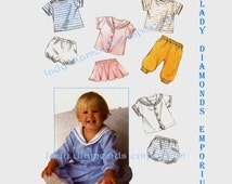 Simplicity 8994 Baby Boys & Girls Pants Panties Skirt Top Jacket Sailor Collar  Infants size 18 Months Vintage 80's Sewing Pattern Uncut