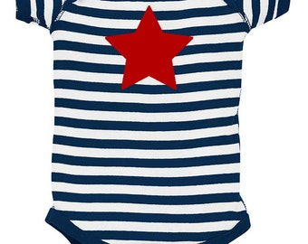 Patriotic Star Baby Bodysuit - Red White & Blue