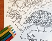 Floral Turtle Stack - Adult Coloring Book Single Page Instant Download Printable Animal
