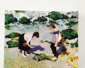Tourist girls in Israel  Tiny canvas print /art print / sea drawing-- wall hanging