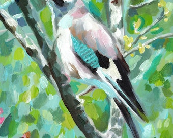 Eurasian jay- Garrulus- bird on branch with Blue background- original acrylic painting painted on mdf - Songbird -Flowers-Landscape painting