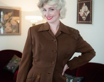 Vintage 1940s Jacket - Exceptional Fred Block Brown Gabardine 40s Jacket with Heavily Beaded Shoulders & Suede Pocket Detail