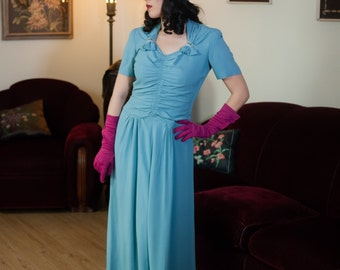 Vintage 1940s Dress - Elegant Turquoise Blue Rayon Crepe 40s Ruched Evening Gown with Rhinestone Studded Lucite Accents