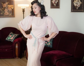 Vintage 1930s Dress - Sheer Pale Pink Silk Chiffon Bias Cut NRA Label 30s Gown with Baby Blue Sash and Matching Slip