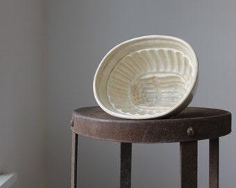 Antique Ironstone Mold, Asparagus Design, Stoneware Pudding Mold, Creamware Aspic Jelly Mold, Country Kitchen Decor