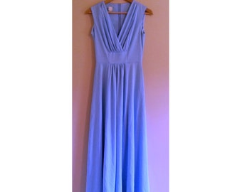 210 - Vintage 60s Baby Blue Maxi Gown - Size S