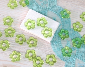 12 Green acrylic flower beads size 20 mm, daisy flower beads, transparent beads, Lucite flower beads for DIY craft & Jewelry projects
