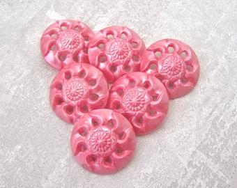 Pink Floral Buttons 28mm - 1 1/8 inch Pierced Pink Lucite Swirlback Flower Buttons - 6 VTG NOS Strawberry Sorbet Pink Shank Buttons PL391